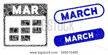 Mosaic March Calendar Grid And Corroded Stamp Watermarks With March Caption. Mosaic Vector March Cal