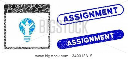 Collage Electrician Calendar Page And Corroded Stamp Seals With Assignment Phrase. Mosaic Vector Ele
