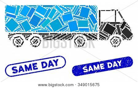 Mosaic Cargo Wagon And Grunge Stamp Seals With Same Day Phrase. Mosaic Vector Cargo Wagon Is Formed