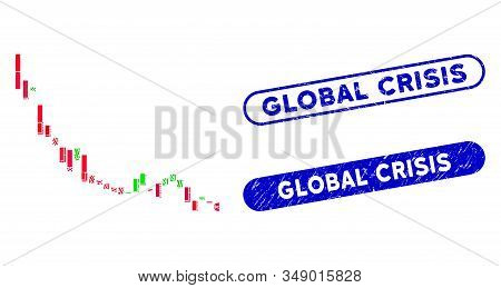 Mosaic Candlestick Chart Falling Slowdown And Corroded Stamp Seals With Global Crisis Caption. Mosai