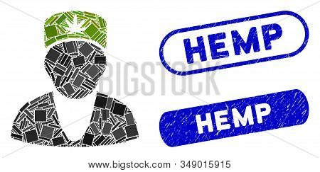 Mosaic Hemp Doctor And Rubber Stamp Seals With Hemp Caption. Mosaic Vector Hemp Doctor Is Formed Wit