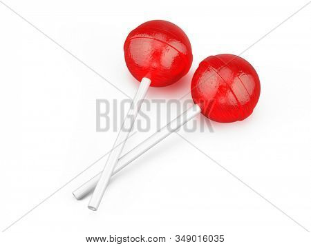 Pair of Red sweet lollipops - round candy on white stick isolated on white. 3d rendering