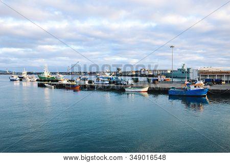 Ponta Delgada, Azores, Portugal - Jan 12, 2020: Industrial Harbor In The Capital City Of Portuguese