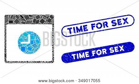 Mosaic Clock Calendar Page And Distressed Stamp Seals With Time For Sex Phrase. Mosaic Vector Clock