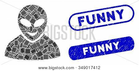 Collage Glad Alien Person And Rubber Stamp Seals With Funny Phrase. Mosaic Vector Glad Alien Person