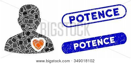 Mosaic Patient Heart And Grunge Stamp Seals With Potence Phrase. Mosaic Vector Patient Heart Is Desi