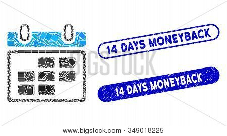 Mosaic Month Calendar And Corroded Stamp Seals With 14 Days Moneyback Text. Mosaic Vector Month Cale