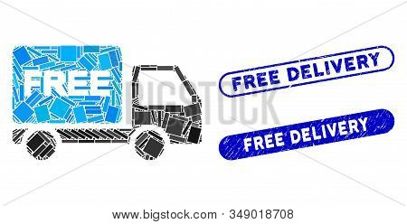 Mosaic Free Delivery Car And Corroded Stamp Seals With Free Delivery Phrase. Mosaic Vector Free Deli