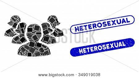 Collage Harem And Distressed Stamp Seals With Heterosexual Text. Mosaic Vector Harem Is Designed Wit