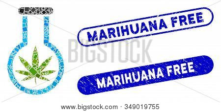 Mosaic Cannabis Flask And Grunge Stamp Watermarks With Marihuana Free Phrase. Mosaic Vector Cannabis