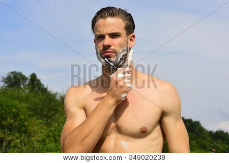 Health And Sexuality Concept: Macho With Unshaved Chin