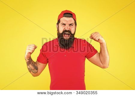 Positive Emotions. Happy Man On Yellow Background. Winner. Successful Day. Man Happy Satisfied Smili