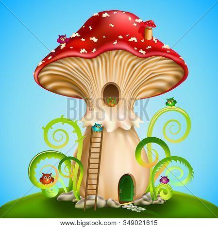 Magic Mushroom. Fairy House Red Mushroom With  Owls On Blue Background. Vector Illustration