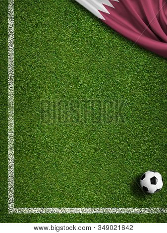 Soccer field corner, ball and Qatar flag 3d illustration