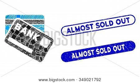 Mosaic Bank Cards And Rubber Stamp Watermarks With Almost Sold Out Phrase. Mosaic Vector Bank Cards