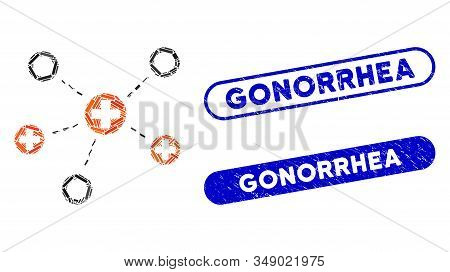 Mosaic Medical Links And Distressed Stamp Seals With Gonorrhea Text. Mosaic Vector Medical Links Is