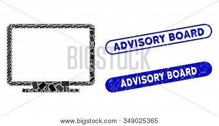 Mosaic Display And Corroded Stamp Seals With Advisory Board Text. Mosaic Vector Display Is Created W