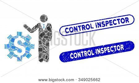 Mosaic Businessman Options And Corroded Stamp Seals With Control Inspector Text. Mosaic Vector Busin