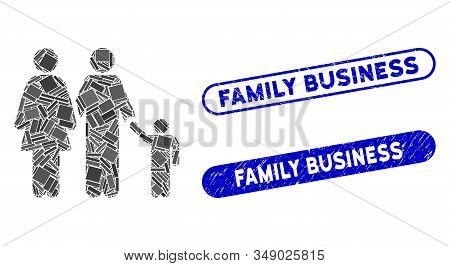 Mosaic Family And Distressed Stamp Seals With Family Business Phrase. Mosaic Vector Family Is Formed