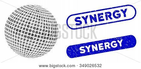 Mosaic Square Dotted Abstract Sphere And Grunge Stamp Seals With Synergy Caption. Mosaic Vector Squa