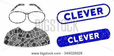 Mosaic Clever Spectacles And Distressed Stamp Seals With Clever Text. Mosaic Vector Clever Spectacle