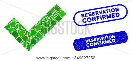 Mosaic Check Tick And Distressed Stamp Seals With Reservation Confirmed Caption. Mosaic Vector Check