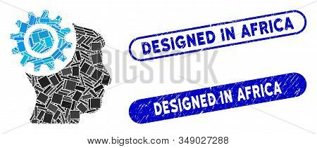Mosaic Brain Gear And Grunge Stamp Seals With Designed In Africa Text. Mosaic Vector Brain Gear Is F