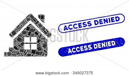 Mosaic House Porch And Rubber Stamp Seals With Access Denied Text. Mosaic Vector House Porch Is Desi