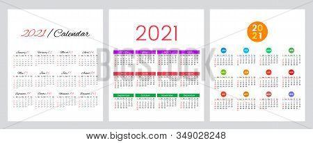 Set Of Three Calendars 2012 Year. Simple Calendar Grid. The Week Starts On Sunday. Flat Vector Illus