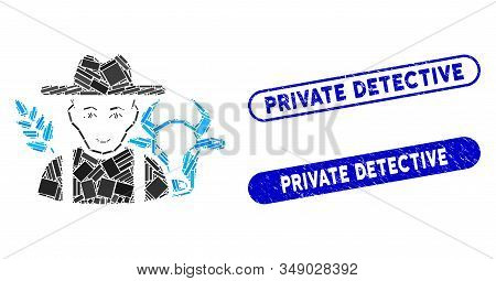 Mosaic Farmer And Grunge Stamp Seals With Private Detective Text. Mosaic Vector Farmer Is Created Wi