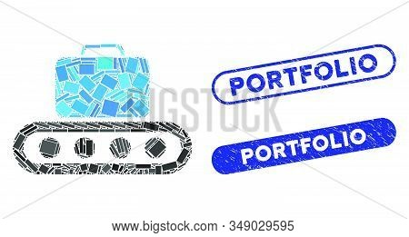 Mosaic Baggage Conveyor And Corroded Stamp Seals With Portfolio Caption. Mosaic Vector Baggage Conve