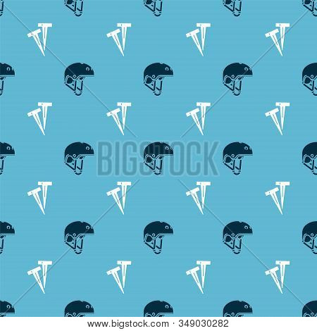 Set Helmet And Pegs For Tents On Seamless Pattern. Vector