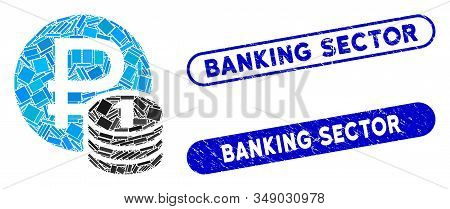 Mosaic Rouble Coins And Grunge Stamp Seals With Banking Sector Phrase. Mosaic Vector Rouble Coins Is