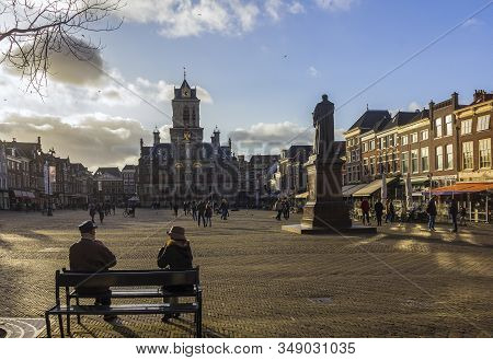 Delft, The Netherlands, Holland,january 18, 2020. Stadhuis (the City Hall) (renaissance Style)