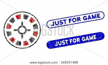 Mosaic Roulette And Distressed Stamp Seals With Just For Game Phrase. Mosaic Vector Roulette Is Crea