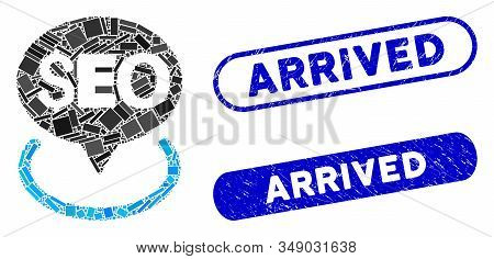 Mosaic Seo Geotargeting And Corroded Stamp Seals With Arrived Phrase. Mosaic Vector Seo Geotargeting