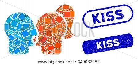Collage Lovers Kiss And Grunge Stamp Seals With Kiss Text. Mosaic Vector Lovers Kiss Is Composed Wit