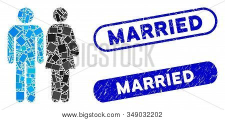 Mosaic Married Couple And Distressed Stamp Watermarks With Married Text. Mosaic Vector Married Coupl