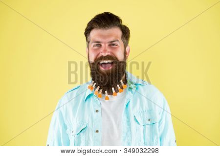 Man Lot Clothespin On Beard. Brutal Hipster With Clothespins Hearts. All About Design. Love Grooming