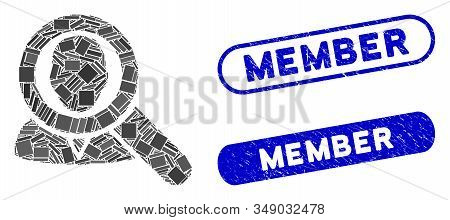 Collage Find User And Corroded Stamp Seals With Member Phrase. Mosaic Vector Find User Is Designed W