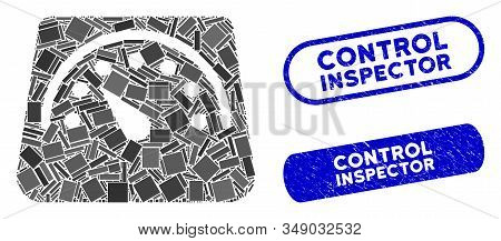 Mosaic Floor Scales And Corroded Stamp Seals With Control Inspector Text. Mosaic Vector Floor Scales