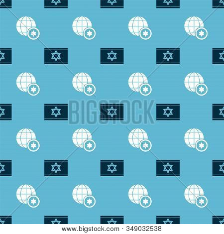 Set Flag Of Israel And World Globe And Israel On Seamless Pattern. Vector