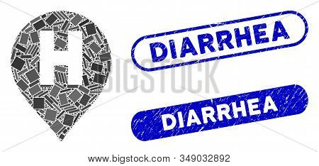 Mosaic Hospital Letter Marker And Distressed Stamp Seals With Diarrhea Text. Mosaic Vector Hospital