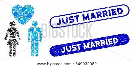 Mosaic Love Persons And Grunge Stamp Seals With Just Married Caption. Mosaic Vector Love Persons Is