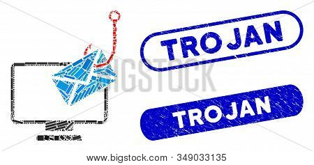 Mosaic Computer Mail Phishing And Grunge Stamp Seals With Trojan Caption. Mosaic Vector Computer Mai