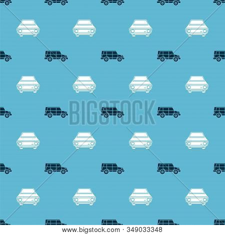 Set Off Road Car And Car On Seamless Pattern. Vector