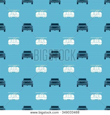 Set Off Road Car And Tram And Railway On Seamless Pattern. Vector