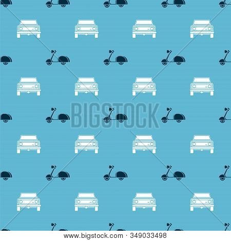 Set Scooter And Off Road Car On Seamless Pattern. Vector