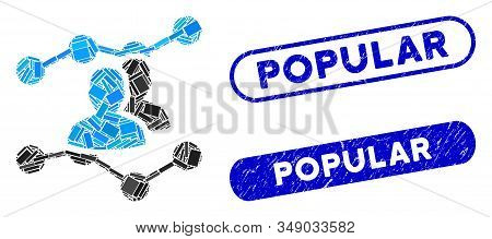 Mosaic Audience Trends And Grunge Stamp Watermarks With Popular Text. Mosaic Vector Audience Trends