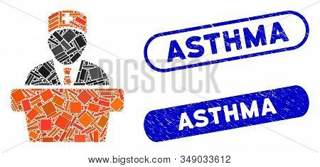Mosaic Health Care Official And Rubber Stamp Seals With Asthma Caption. Mosaic Vector Health Care Of